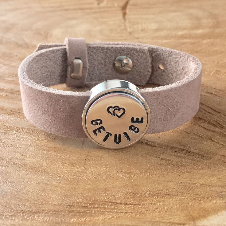Armband met tekst slider voor getuige bruiloft.