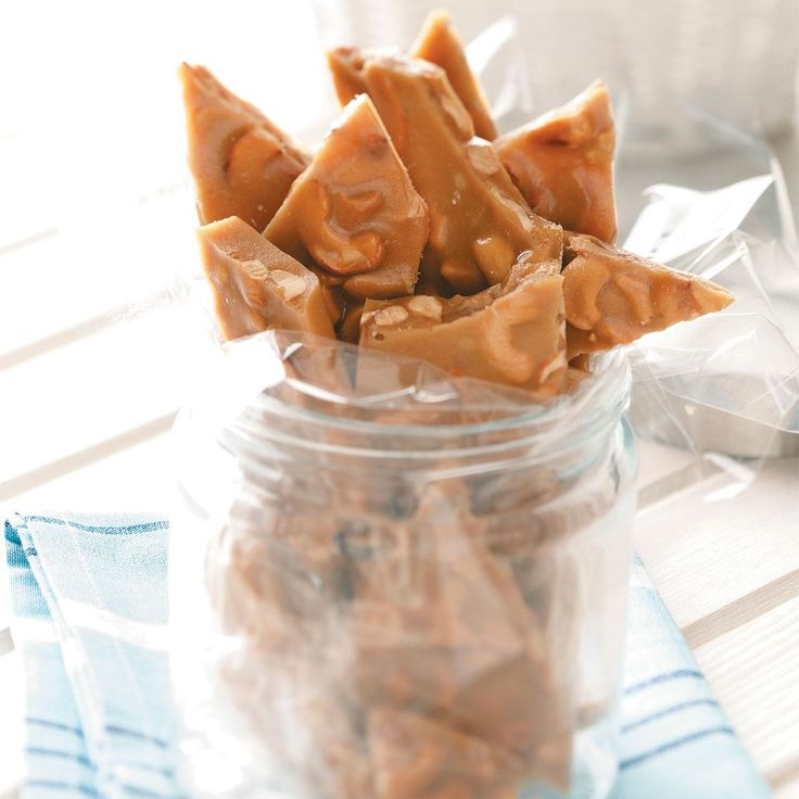 Cashew Candy Crunch Recipe -I started making brittle in the mid 1970s and have been using this recipe for about 30 years. One year, I made more than 170 pounds of this brittle to give to my customers at Christmas. —Jim Merchant, Vinton, Iowa