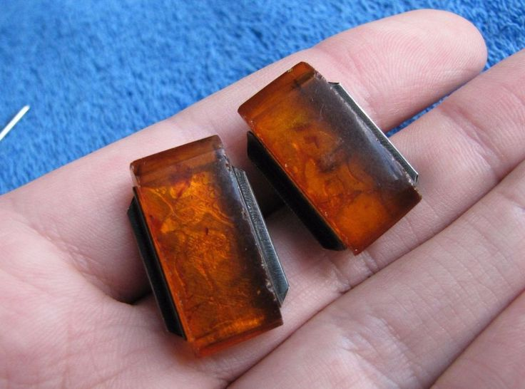 Natural Baltic Amber 13 gr cufflinks 老琥珀 USSR Russia silver 875 antique jewelry #Handmade