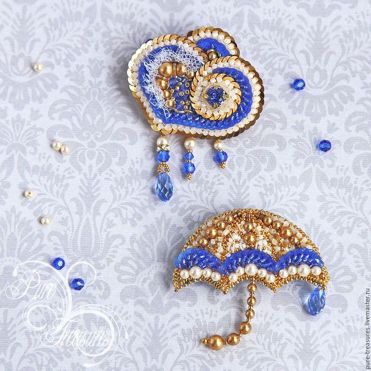 Купить Брошь Зонтик - золотой, синий цвет, белый цвет, украшения ручной работы
