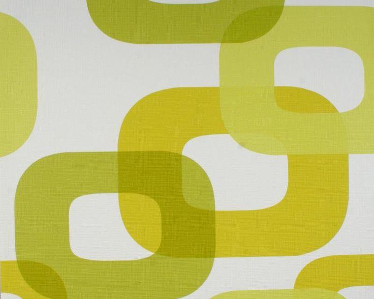 retro behang the 70's groen wit 745