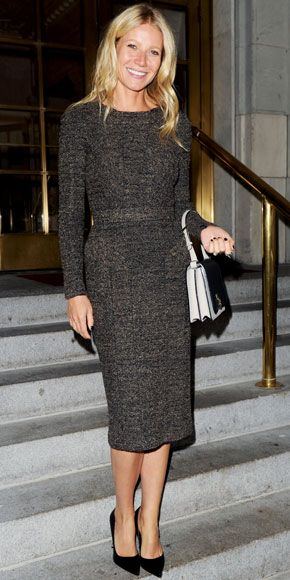 Gwyneth Paltrow exited her N.Y.C. hotel in Burberry Prorsum's knee-length sheath and ladylike accessories, including a two-tone Victoria Beckham tote and leather Sergio Rossi pumps.