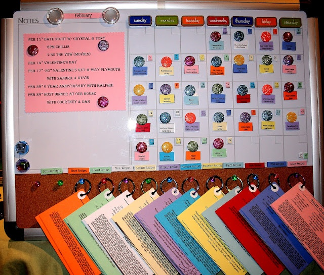 """What the... Dinner """"Menu Board"""" where have you been all my life??? This is PERFECT!  What you will need:  Dry Erase Board  Magnetic Tape  Buttons/Gems (you will add magnetic tape to these)  Thumb Tacks  Metal Rings  Card Stock Paper (at least 10 different colors) The key to this board is Organization, that way it will be Super Easy to plan your meals.You will also add magnetic tape to these!!  Reinforcements Stickers to add to your recipe's so they don't rip off the metal ring."""