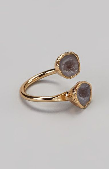 This style of ring is very trendy recently! It's like two ring, but they're stick together!