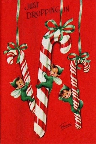 Vintage Christmas Card with candy canes and elves