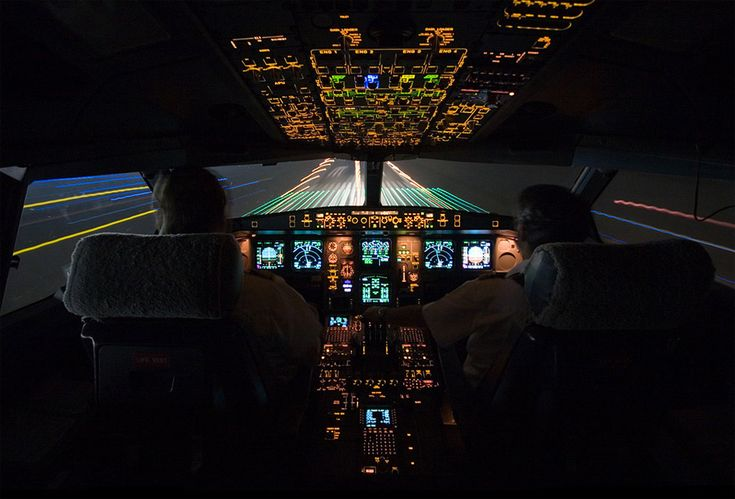 landing at night, cockpit view
