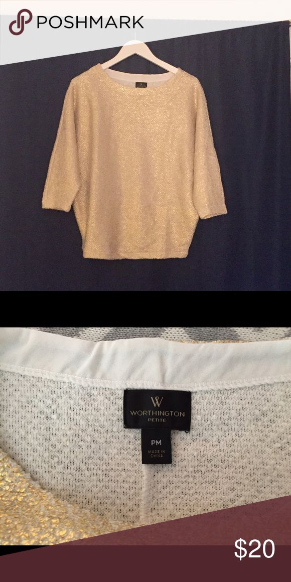 "Cute gold shirt - size M Worn once- selling this cream colored shirt with gold flecks which give it a gold color. It has ""batwing"" style arms. The designer is Worthington and size is petite medium. Great condition! Worthington Tops"