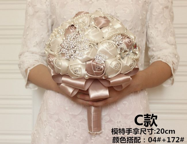 Customized Gorgeous Beaded Crystal Wedding Bouquet Artificial Sapphire Ivory Rose Bridesmaid Flower Pearl Bridal Bouquets