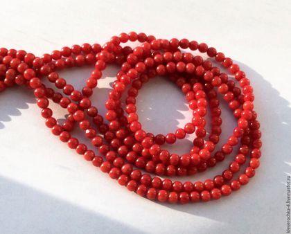 Для украшений ручной работы. Ярмарка Мастеров - ручная работа. Купить Коралл 4 мм - 20 шт красный шар гладкий бусины для украшений. Handmade.
