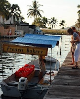 Barra de Navidad, Mexico, buying freshly made French Pastries from a boat for breakfast.