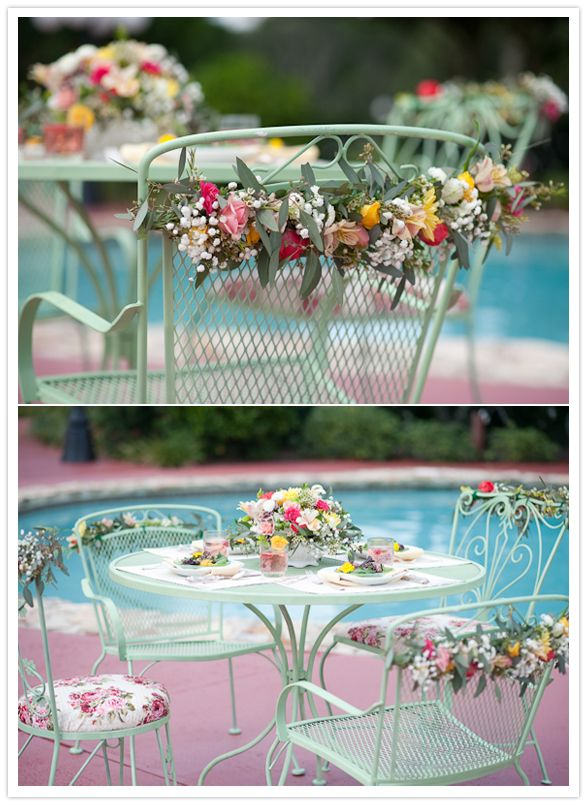 1960s wedding decor: floral wrapped poolside table