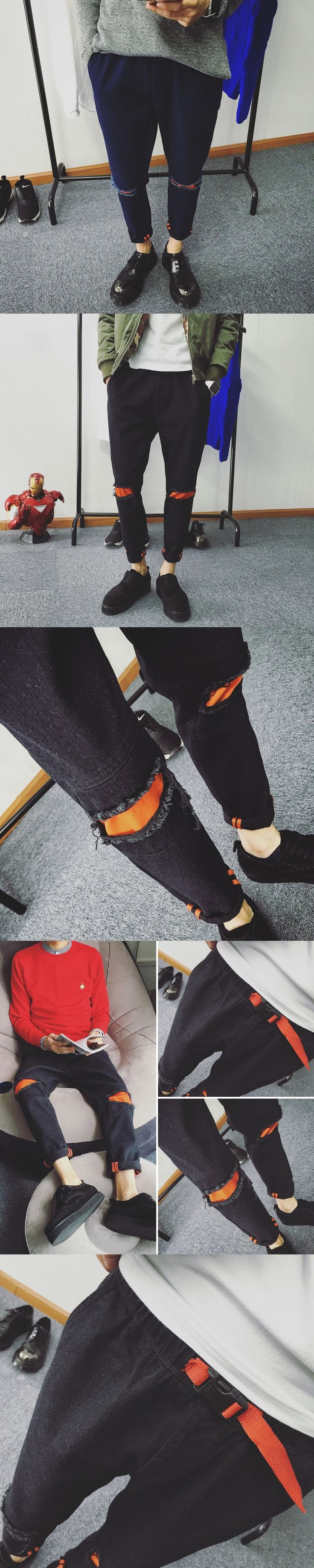 Fashion 2017 Spring Summer Striped Patchwork Street City Casual Ripped Hole knee male Teenager Hip hop jeans Men Pancil Pants
