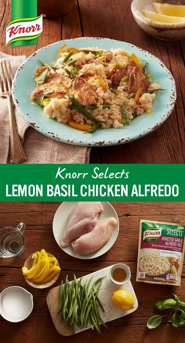 Add a little lemon juice and basil to new Knorr® Selects Roasted Garlic Alfredo Rice, a gluten-free rice dish with no artificial flavors or preservatives, to create this perfect pairing with sautéed chicken breasts.