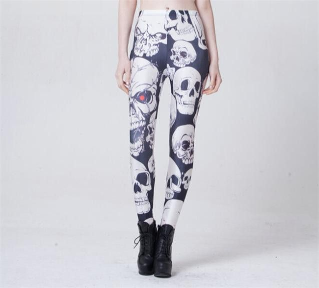 Leggins Women RED EYES OPEN MOUTH SKULL Printed Galaxy Pants Lady Fitness Leggings Roupas De Ginastica Feminina S106-592