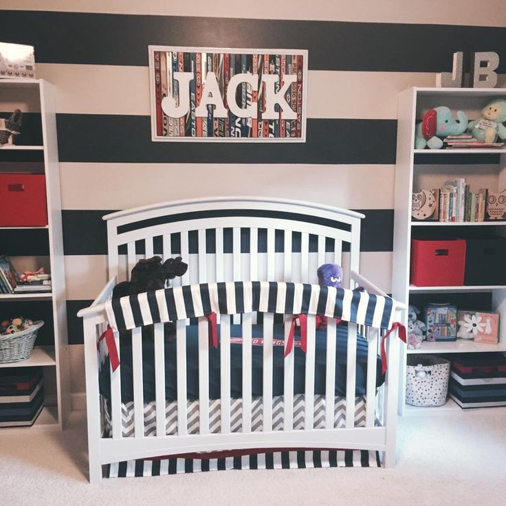 Baby boy red and navy hockey themed nursery handmade nameplate using old or broken hockey