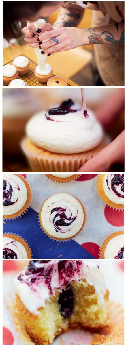 Blueberry cheesecake cupcakes from Cupcake Jemma's Cake Book!