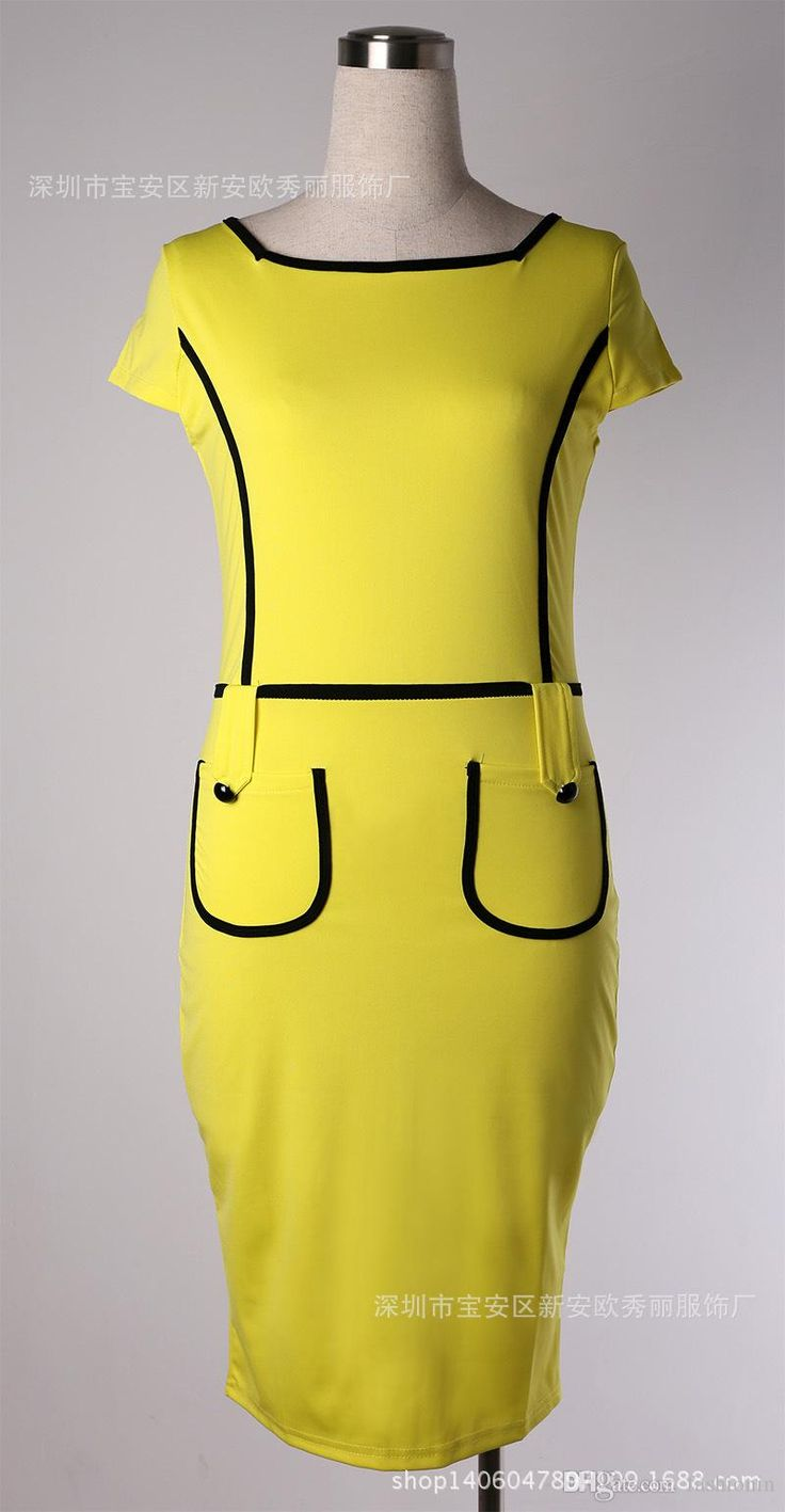 Yellow Work Dresses With Pocket