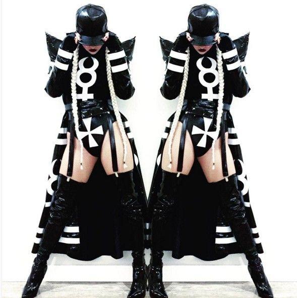 2016 женский черный длинные часы jakcet боди сексуальный костюм DJ этап одежда бар DS певица танец хип хоп клуб певица танцор купить на AliExpress