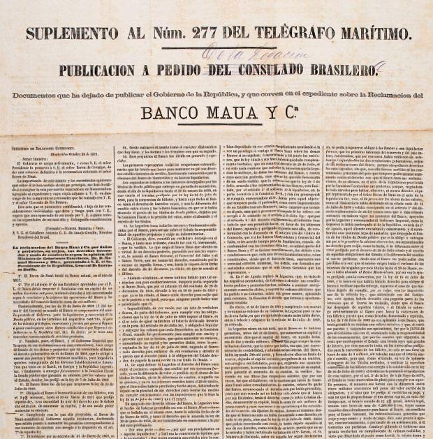 A Coroa sai em defesa de Mauá, no Uruguai. Publicação a pedido do consulado brasileiro no jornal Telégrafo Marítimo, Montevidéu, em 20 de outubro de 1871 – Impresso | Museu Imperial.