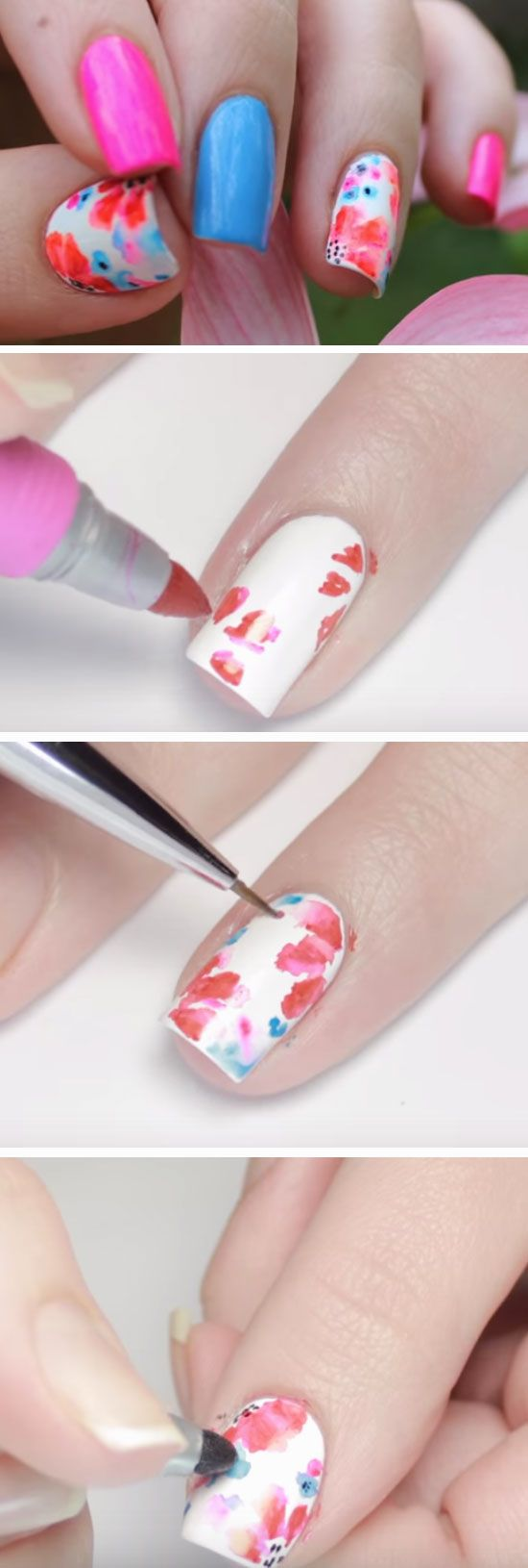Watercolor Sharpie Nails | 18 Funky Summer Nail Art Ideas for Short Nails that scream summer!