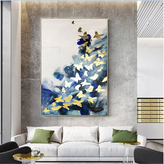 Gold Leaf Butterfly Abstract Painting Wall Art Pictures For Etsy Hallway Wall Decor Wall Art Pictures Living Room Canvas Art