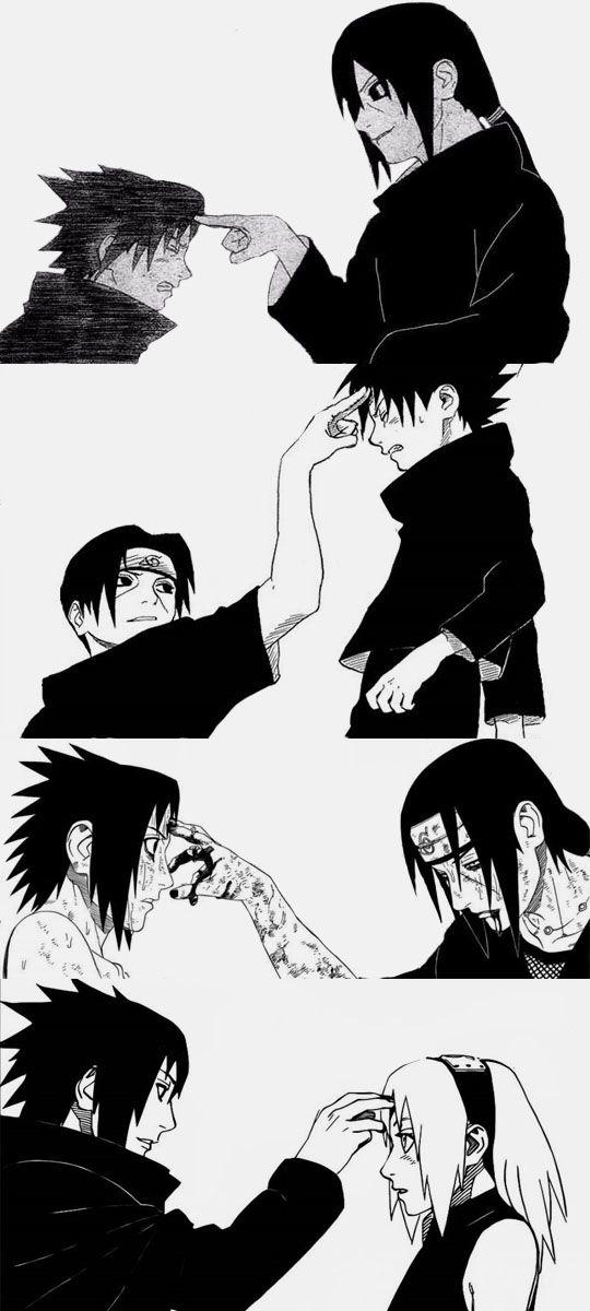 Sasuke poking sakura in the forehead the same way itachi use to do to him. I wonder why sasuke used that specific gesture towards sakura. awwwwwwwwww.