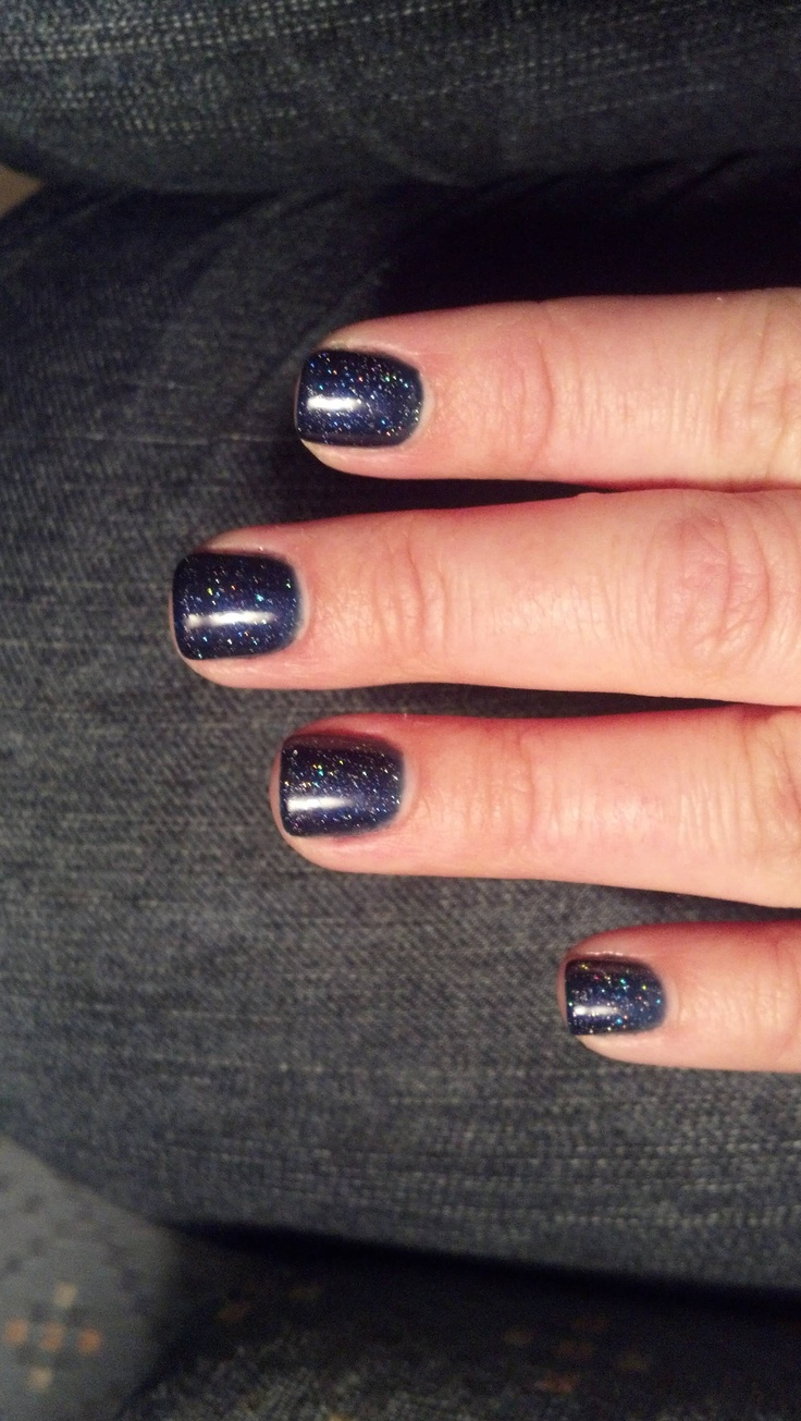 """2 coats OPI gel color """"Russian Navy""""  topped with 1 coat Gelish """"Vegas Nights"""""""