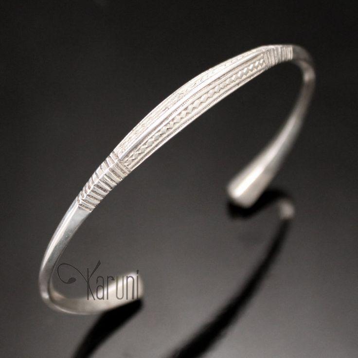 Bijoux Touareg Ethniques Bracelet en Argent Angle Homme/Femme 10 Gravé