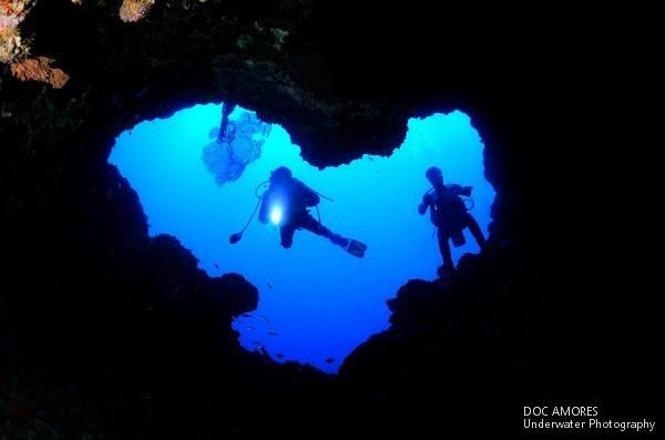 San Vicente Underwater Caves, Olango Island, Cebu, Philippines (photography by Doc Amores) | so amazing that the opening is almost heart-shaped!