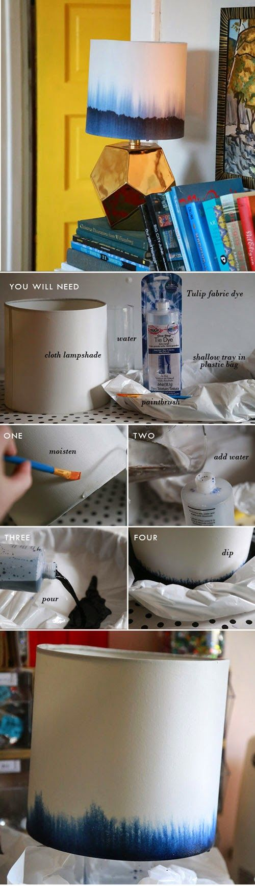 DIY - Dip-Dye Lampshade, Tutorial from iLoveToCreate Blog