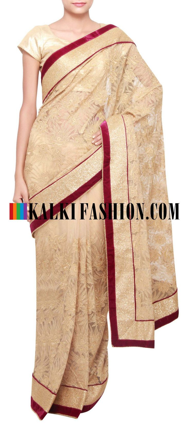 Get this beautiful golden saree here: http://www.kalkifashion.com/beige-saree-embellished-in-zari-embroidery-only-on-kalki.html Free shipping worldwide. #50ShadesOfGold