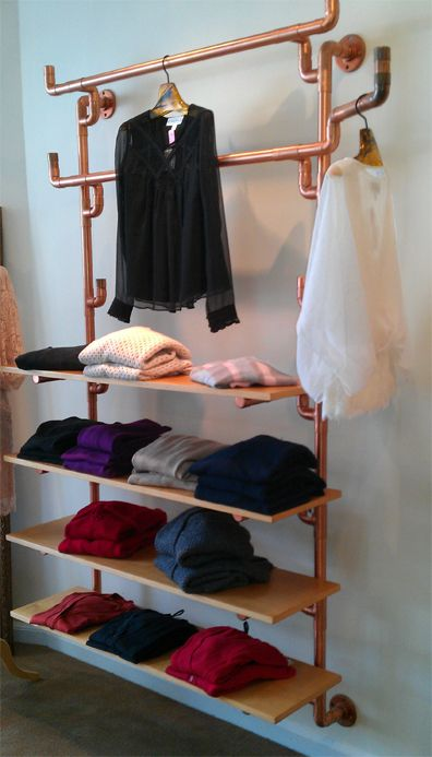 diy industrial pipe clothing rack pipe u0026 fittings plus wood boards u003d wall shelving unit