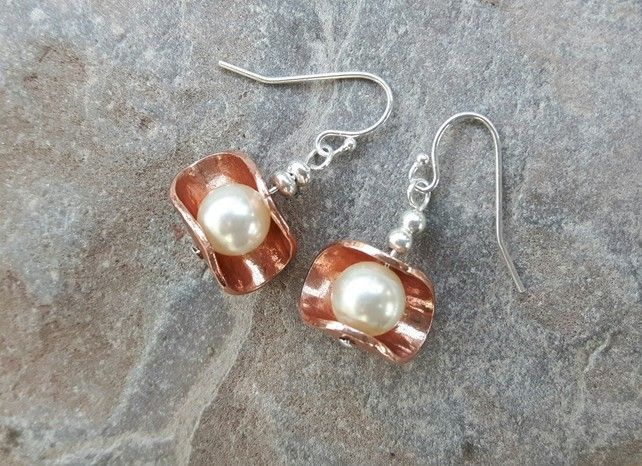 Sterling Silver, Copper and Pearl Drop Earrings £16.00