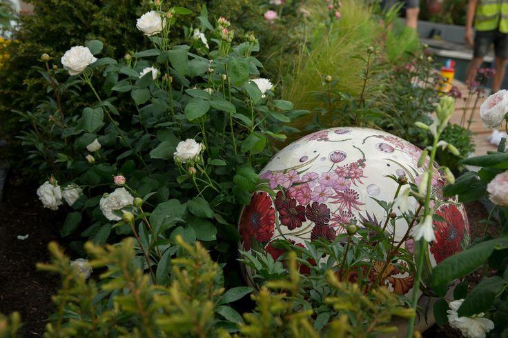 #Moorcroft Pottery globe at Positively Stoke Garden by Bartholomew Landscaping at 2014 RHS Chelsea Flower Show www.bartholomewlandscaping.com