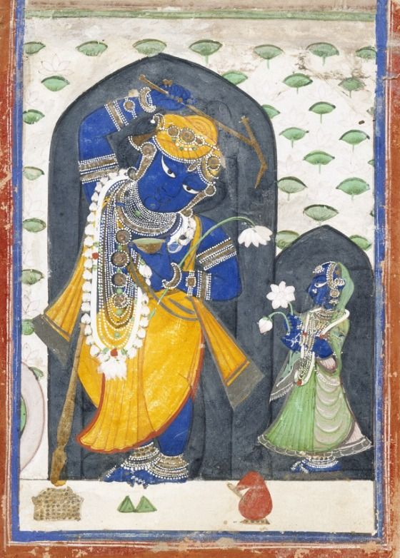 Revati (R) with her husband Balarama (Krsna's older brother). late 19th C. Nathadwara, India.