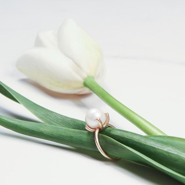 Upcycled 10k yellow gold FreshwaterPearl Ring  #Spring #upcycled #freshwaterpearl #Winnipeg #ExchangeDistrict