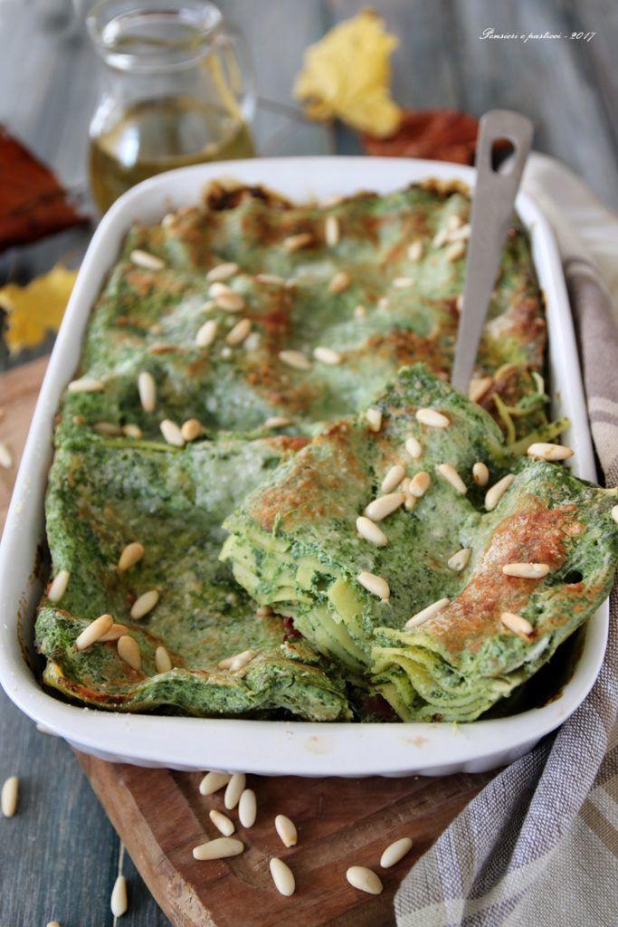 lasagna alla crema di spinaci, bresaola e pinoli