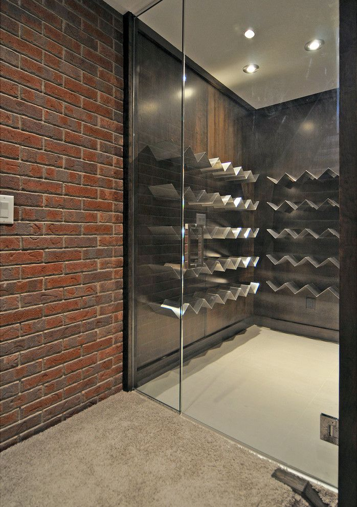Wine Rack Ideas Wine Cellar Contemporary with Brick Wall Carpet Dark