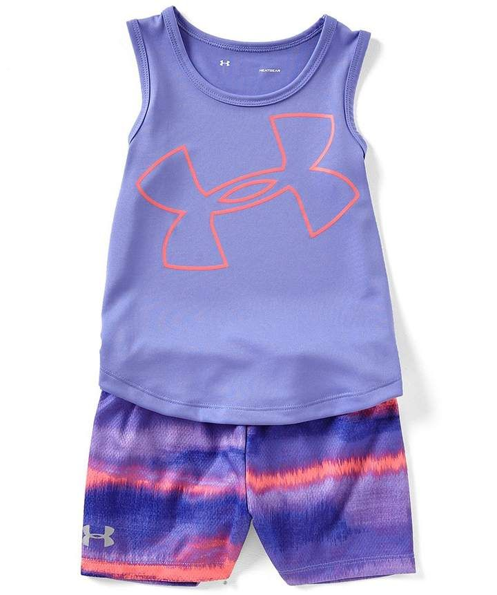 85642811ff1f4 Under Armour Little Girls 2T-6X Big Logo Tank/Shorts Set ...
