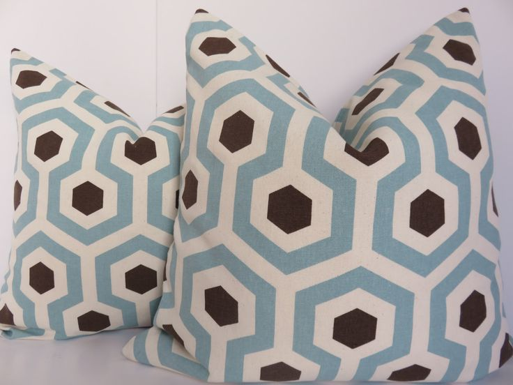 Pillow Cover - Aqua Pillow Cover - Pillow Cover - Aqua Brown Pillow - Geometric Pillow - 18x18 -Pillow - Aqua Brown Pillow by ClavelFashion on Etsy https://www.etsy.com/listing/251894398/pillow-cover-aqua-pillow-cover-pillow