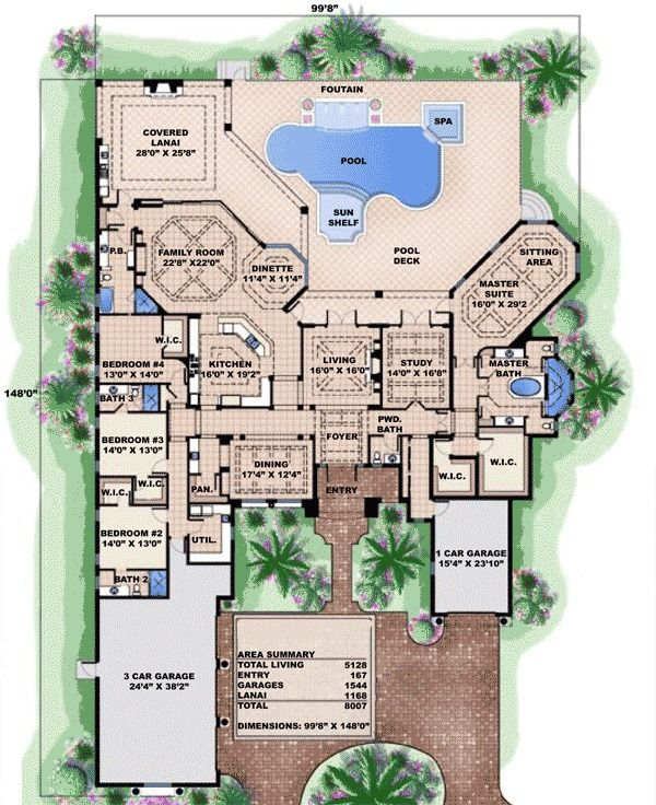 Luxurious Spanish Style House Plan - 66315WE | 1st Floor Master Suite, Butler Walk-in Pantry, CAD Available, Corner Lot, Den-Office-Library-Study, Florida, Luxury, MBR Sitting Area, Mediterranean, PDF, Spanish, Split Bedrooms | Architectural Designs