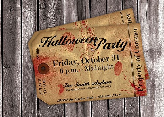 Hallowen Party Toe Tag Invitation DIGITAL FILE by Craftberrytree, $7.99