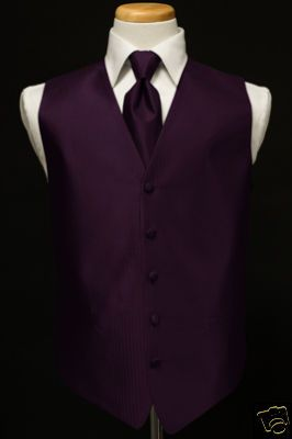 black tux with purple vest and tie | ... : New Medium Raisin Purple tuxedo vest LONG tie ALL SIZES