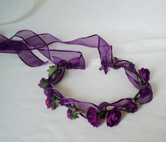 Purple Flower Crown Hair Accessories Purple Passion by AmoreBride, $52.00