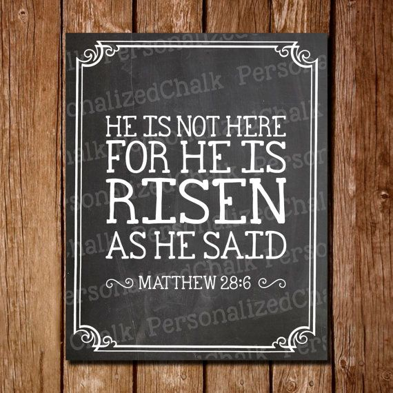 Easter Chalkboard He is Not Here for He is Risen Chalkboard Sign He is Risen Chalk Board Poster Sign Printable Easter Scripture Home Decor