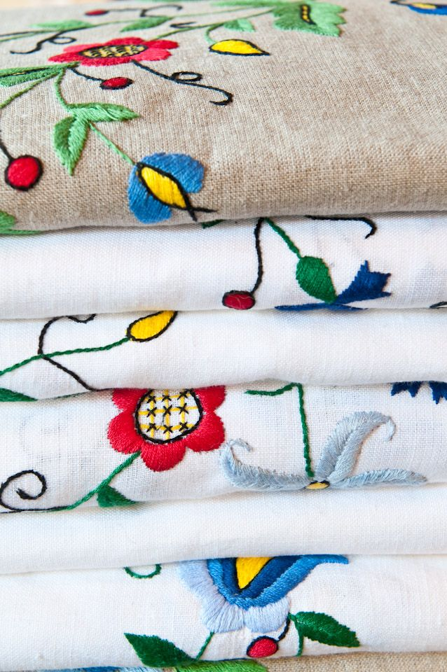 Linen tablecloths with Kashubian, hand embroidery. Kashubian region is on the north of Poland near the Baltic sea.