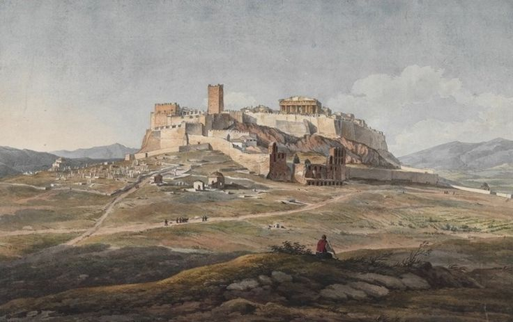 Dodwell, The Acropolis, from the west, showing the Turkish cemetery, pathways, and the western defenses, done in the late afternoon. PHI 253. Watercolor by Dodwell, dated July 1805