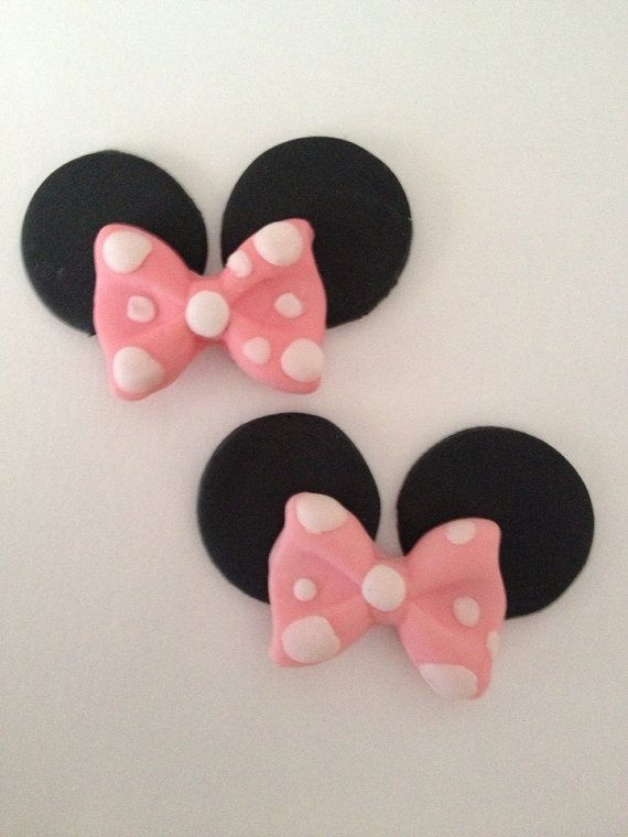 Fondant Mouse ears with bow cupcake toppers minnie on Etsy, $13.00