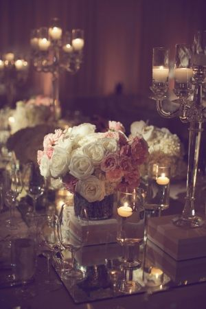 Pink and White Rose Centerpiece | photography by http://www.leighmillerphotography.com/