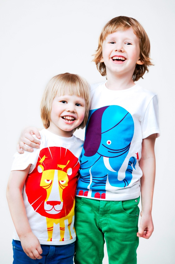 "Polkka Jam ""Lion"" and ""Elephant"" kids t-shirts design by Sami Vähä-Aho 2009."
